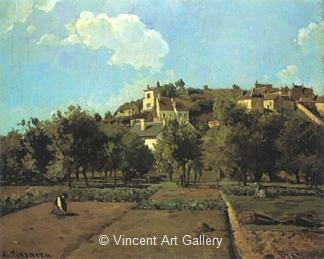 The Gardens of L' Hermitage by Camille  Pissarro