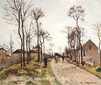 The Road to St-Cyr at Louveceinnes by Camille  Pissarro