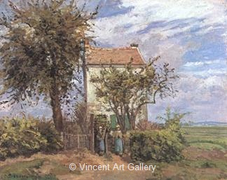 The House in the Fields, Rueil by Camille  Pissarro