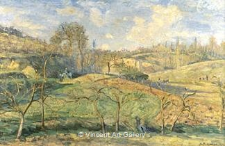 March Sun, Pontoise by Camille  Pissarro