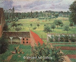 View from my Window, Eragny by Camille  Pissarro