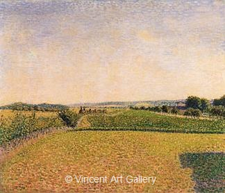Railroad to Dieppe by Camille  Pissarro
