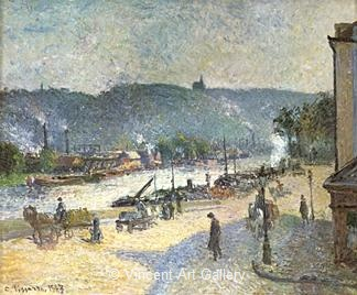 The Quays at Rouen by Camille  Pissarro