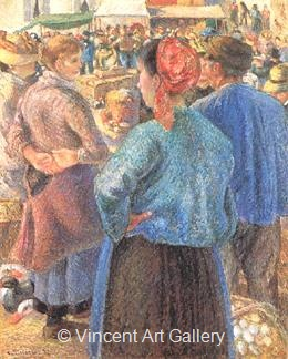 The Poultry Market at Pontoise by Camille  Pissarro