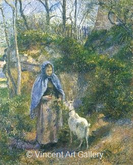 Woman with a Goat by Camille  Pissarro