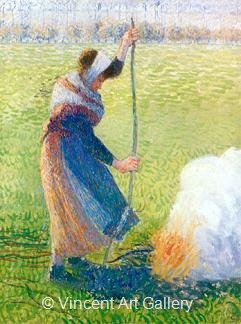 Woman breaking Wood by Camille  Pissarro