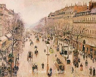 Boulevard Montmarte, Morning, Grey Weather by Camille  Pissarro