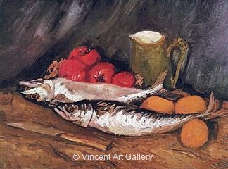 Still Life with Mackerels, Lemons and Tomatoes by Vincent van Gogh