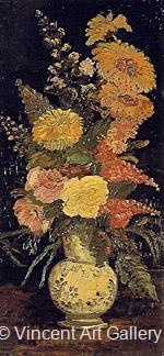 Vase with Asters, Salvia and Other Flowers by Vincent van Gogh