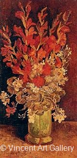 Vase with Gladioli and Carnations by Vincent van Gogh