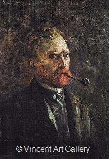 Self-Portrait with Pipe by Vincent van Gogh