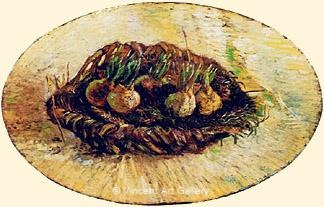 Basket of Sprouting Bulbs by Vincent van Gogh