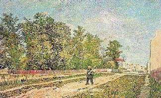 Outskirts of Paris: Road with Peasant Shouldering a Spade by Vincent van Gogh