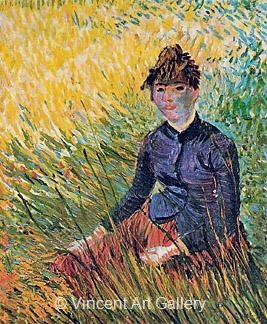 Woman Sitting in the Grass by Vincent van Gogh