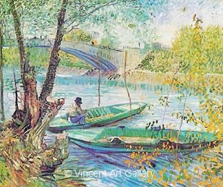 Fishing in the Spring, Pont de Clichy by Vincent van Gogh