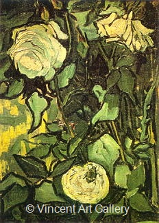 Roses and Beetle by Vincent van Gogh