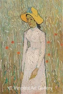 Young Girl Standing Against a Background of Wheat by Vincent van Gogh