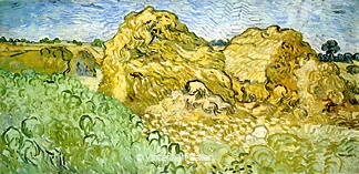 Field with Wheat Stacks by Vincent van Gogh