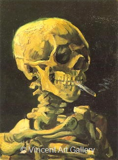 Skull with Burning Sigarette by Vincent van Gogh